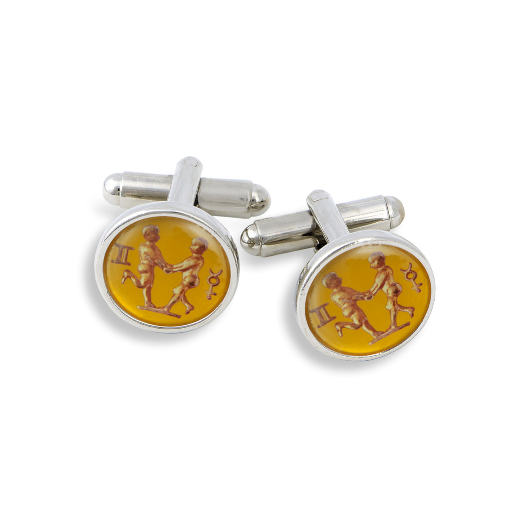 SilverTone Cufflink Set featuring the Vintage Astrology Gemini