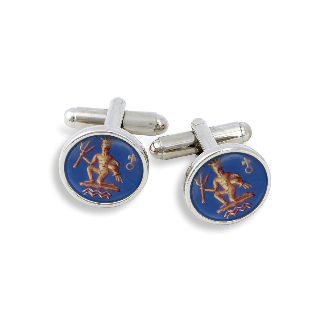 SilverTone Cufflink Set featuring the Vintage Astrology Aquarius