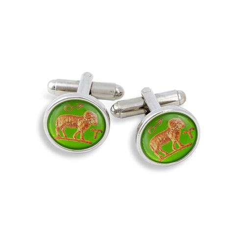 SilverTone Cufflink Set featuring the Vintage Astrology Aries