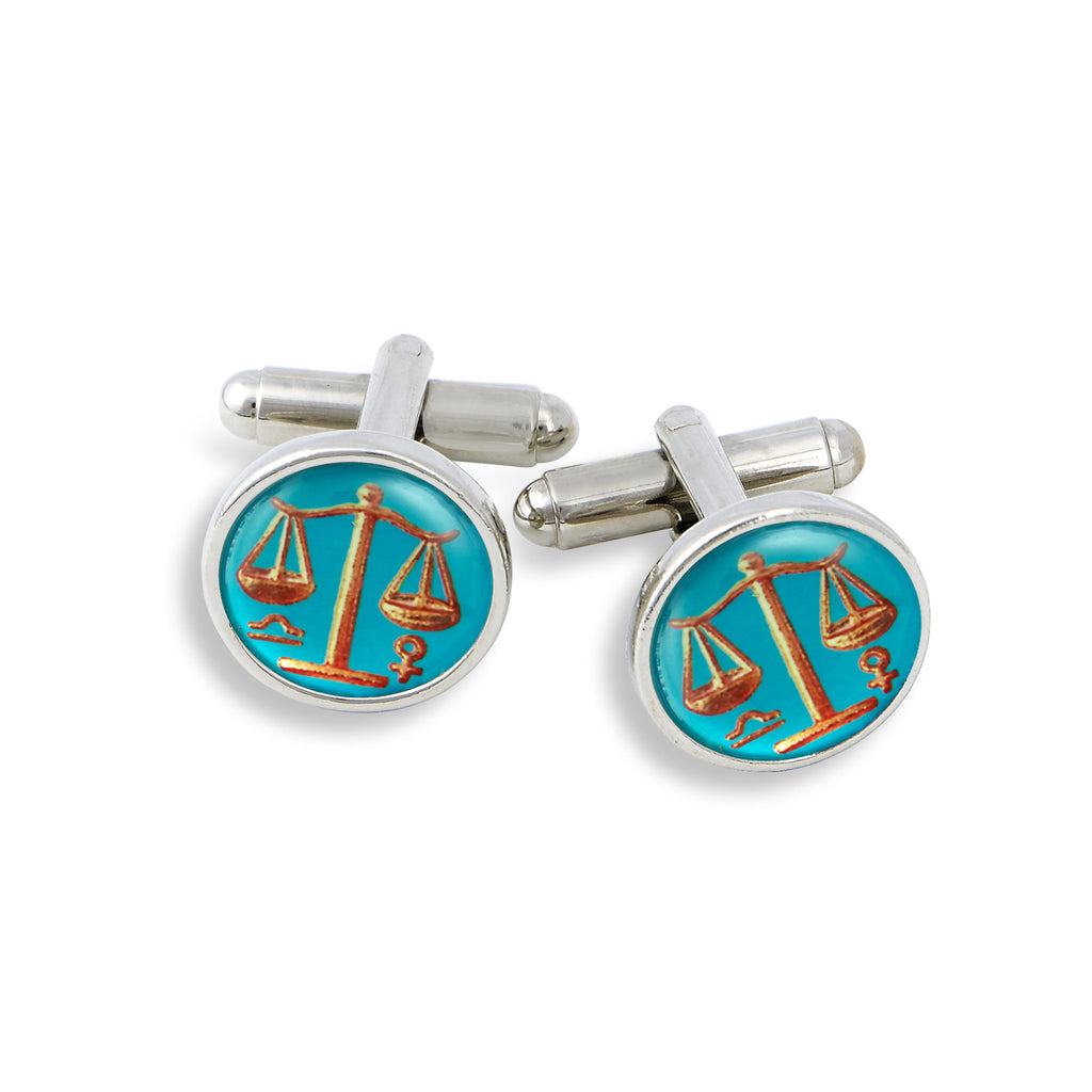 SilverTone Cufflink Set featuring the Vintage Astrology Libra