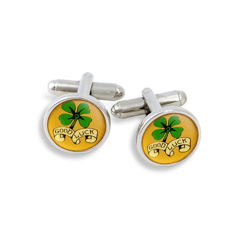 SilverTone Cufflink Set featuring the Good Luck Four-leaf Clover