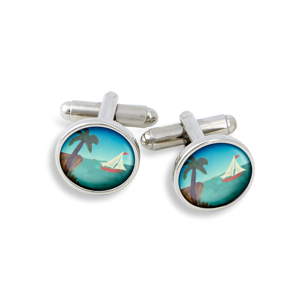 SilverTone Cufflink Set featuring the Sailboat and Palm Tree