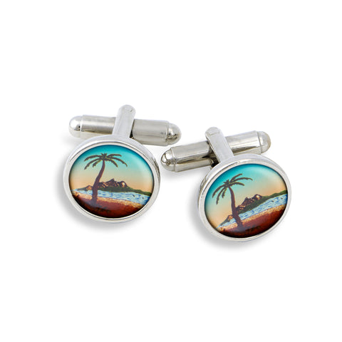 SilverTone Cufflink Set featuring the Palm Tree