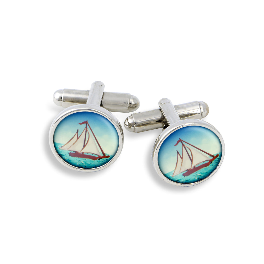 SilverTone Cufflink Set featuring the Sailboat