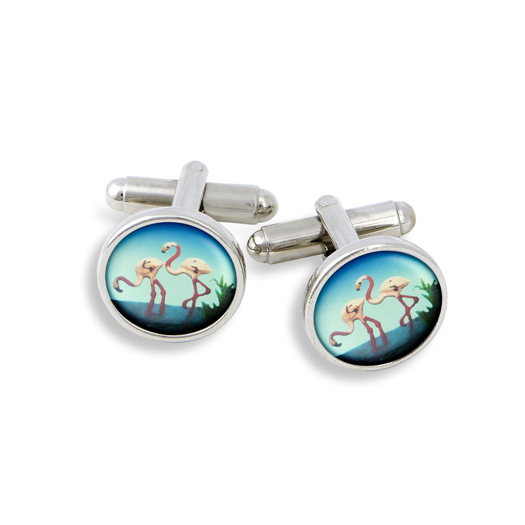 SilverTone Cufflink Set featuring the Flamingos