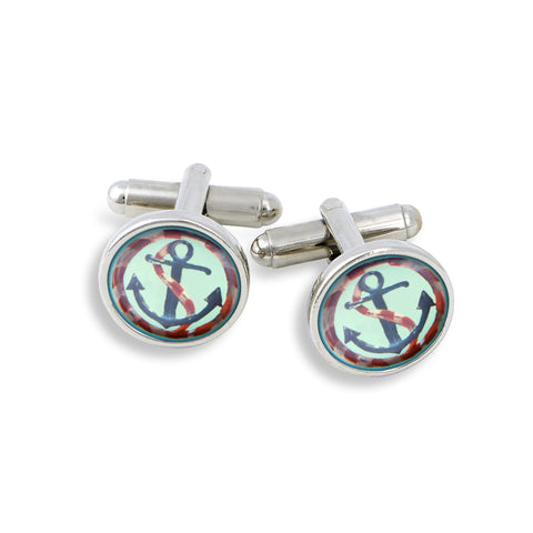 SilverTone Cufflink Set featuring the Anchor
