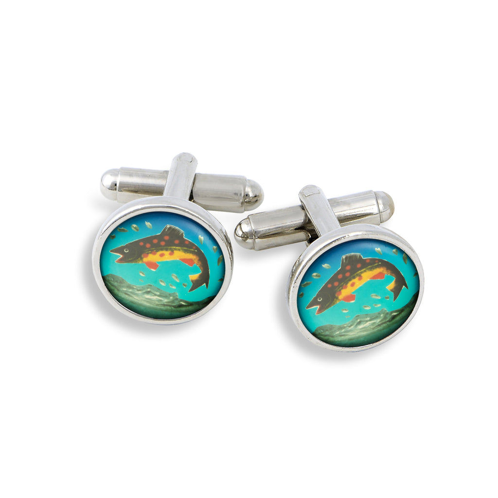 SilverTone Cufflink Set featuring the Trout