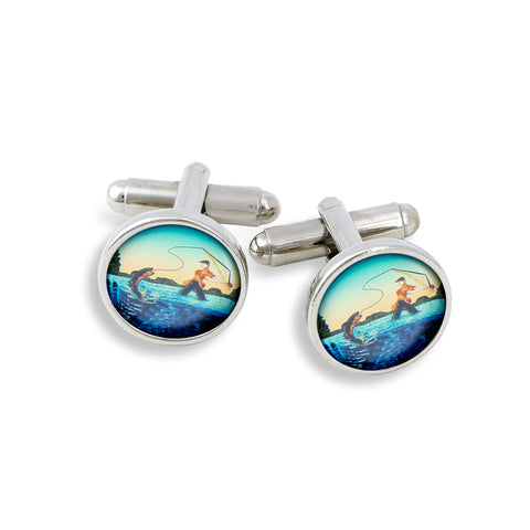 SilverTone Cufflink Set featuring the Fisherman