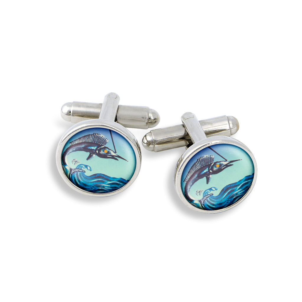 SilverTone Cufflink Set featuring the Marlin