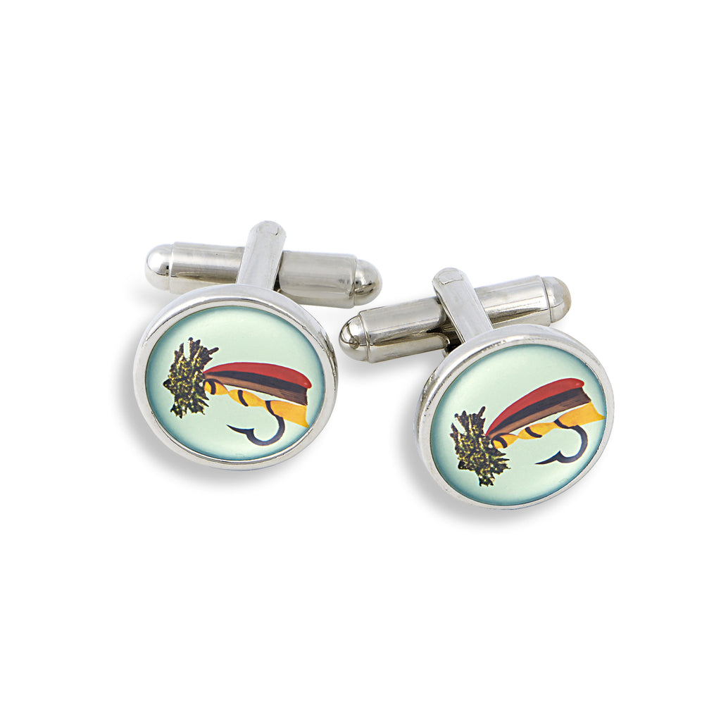SilverTone Cufflink Set featuring the Fishing Lure
