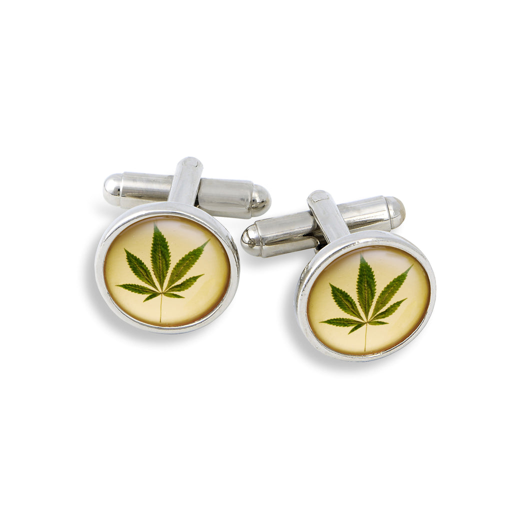 SilverTone Cufflink Set featuring the Marijuana Cannibis Leaf