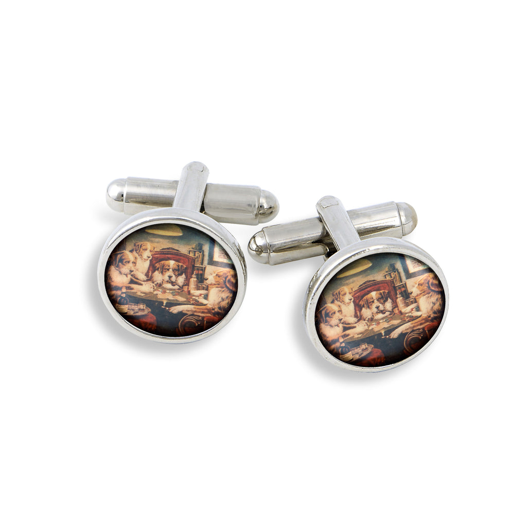 SilverTone Cufflink Set featuring the Famous Card Playing Dogs