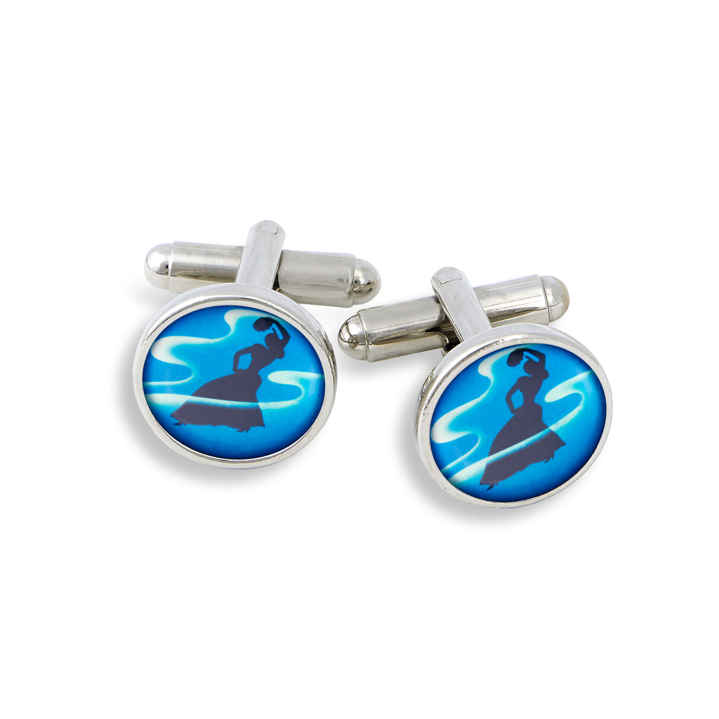 SilverTone Cufflink Set featuring the Dancing Lady