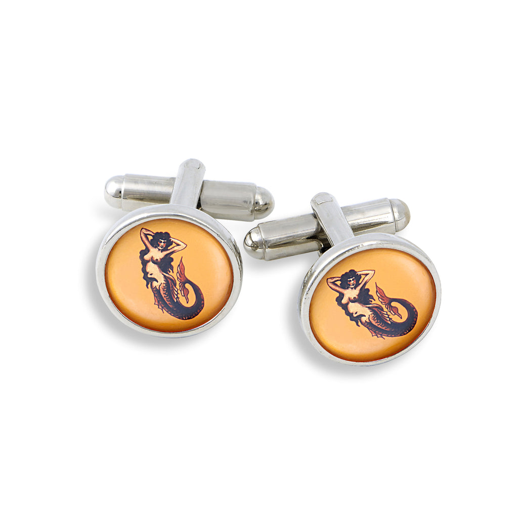 SilverTone Cufflink Set featuring the Vintage Flash Tattoo Mermaid