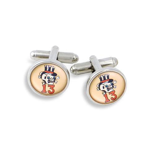 SilverTone Cufflink Set featuring the Vintage Flash Tattoo Lucky 13 with Skull and Crossbones