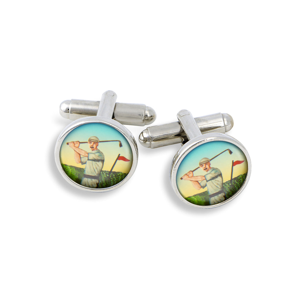 SilverTone Cufflink Set featuring the Golfer