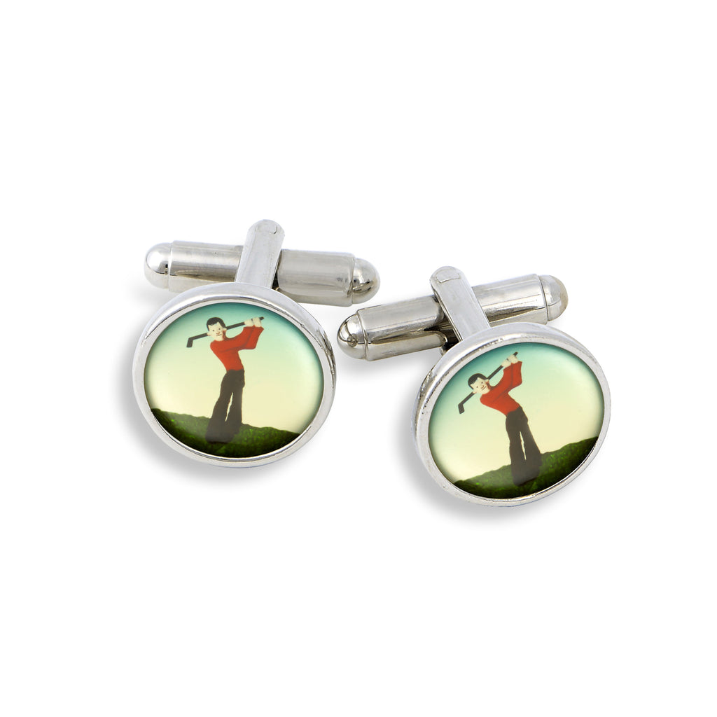 SilverTone Cufflink Set featuring the Painted Golfer