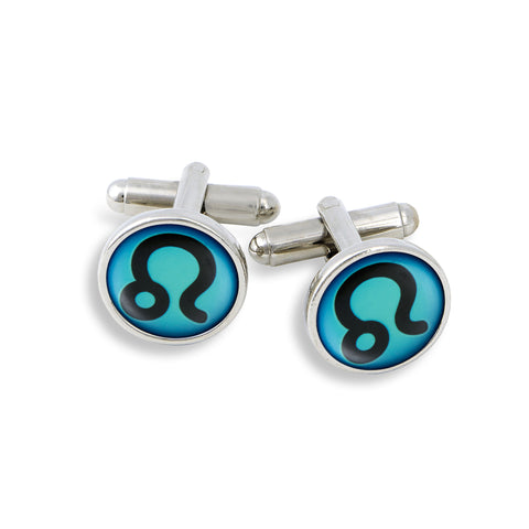 SilverTone Cufflink Set featuring the Color Pop Astrology Leo