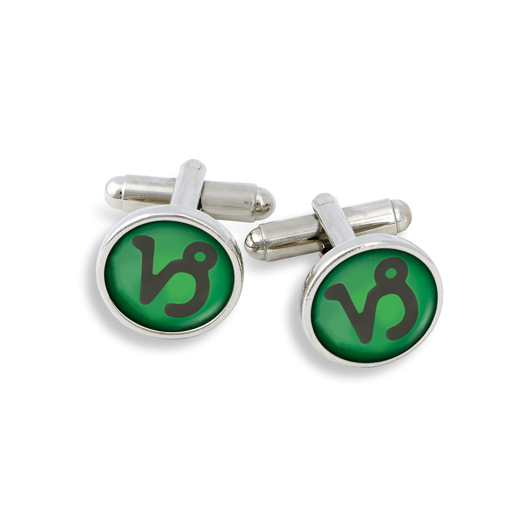 SilverTone Cufflink Set featuring the Color Pop Astrology Capricorn