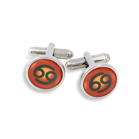 SilverTone Cufflink Set featuring the Color Pop Astrology Cancer