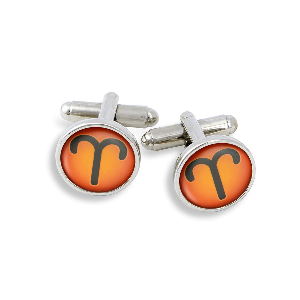 SilverTone Cufflink Set featuring the Color Pop Astrology Aries
