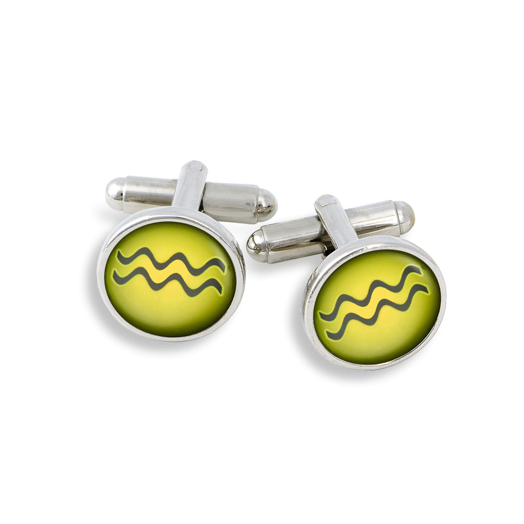 SilverTone Cufflink Set featuring the Color Pop Astrology Aquarius