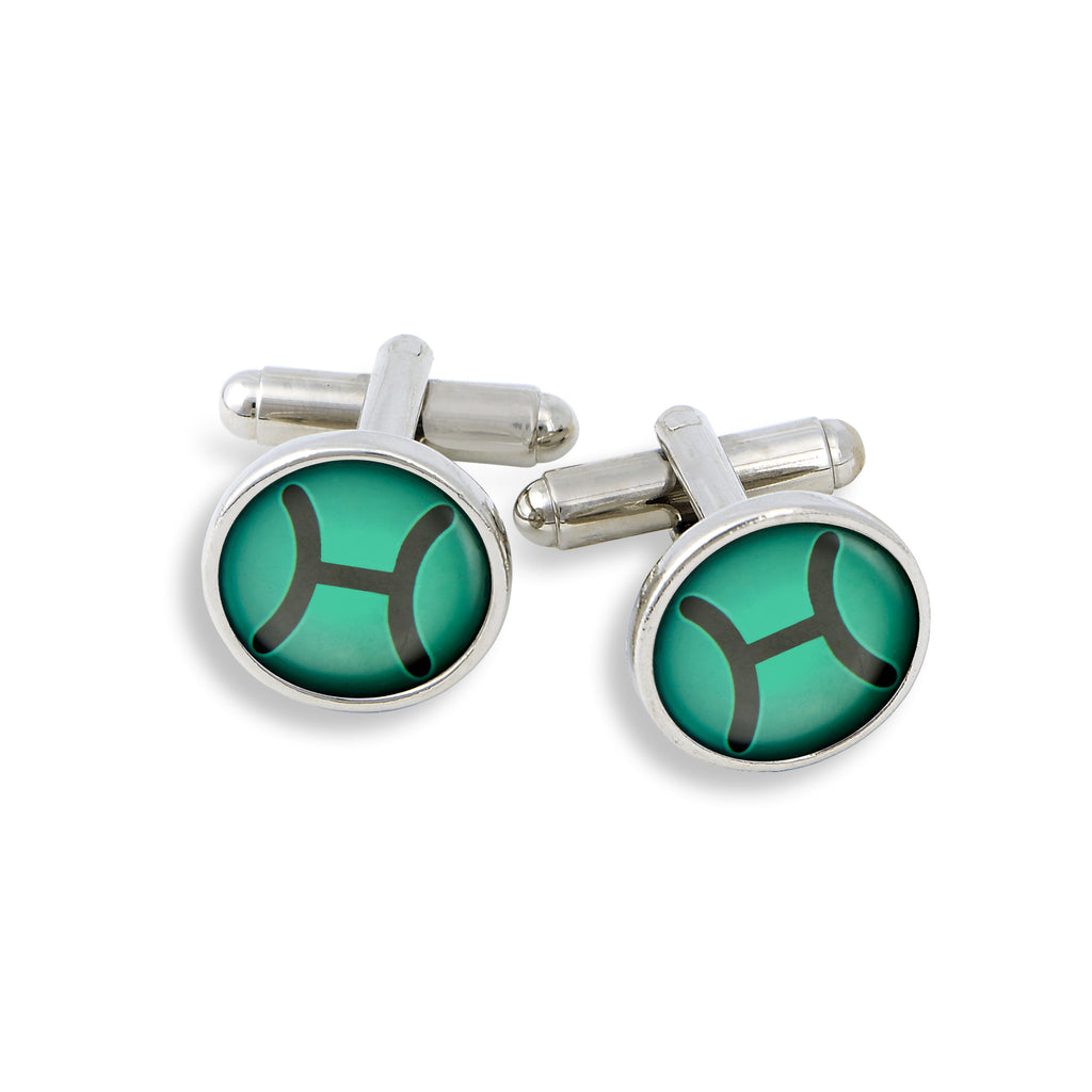 SilverTone Cufflink Set featuring the Color Pop Astrology Picses