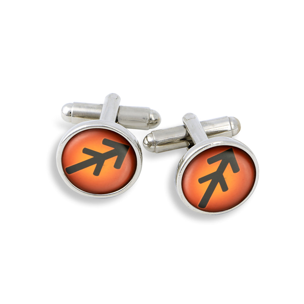 SilverTone Cufflink Set featuring the Color Pop Astrology Sagittarius