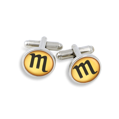 SilverTone Cufflink Set featuring the Color Pop Astrology Scorpio