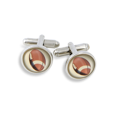 SilverTone Cufflink Set featuring the Football
