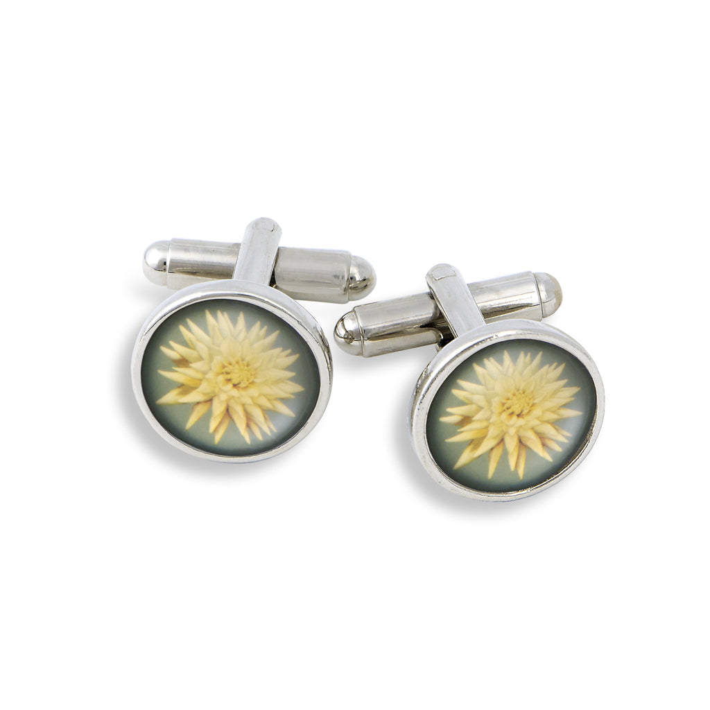 SilverTone Cufflink Set featuring the White Flower