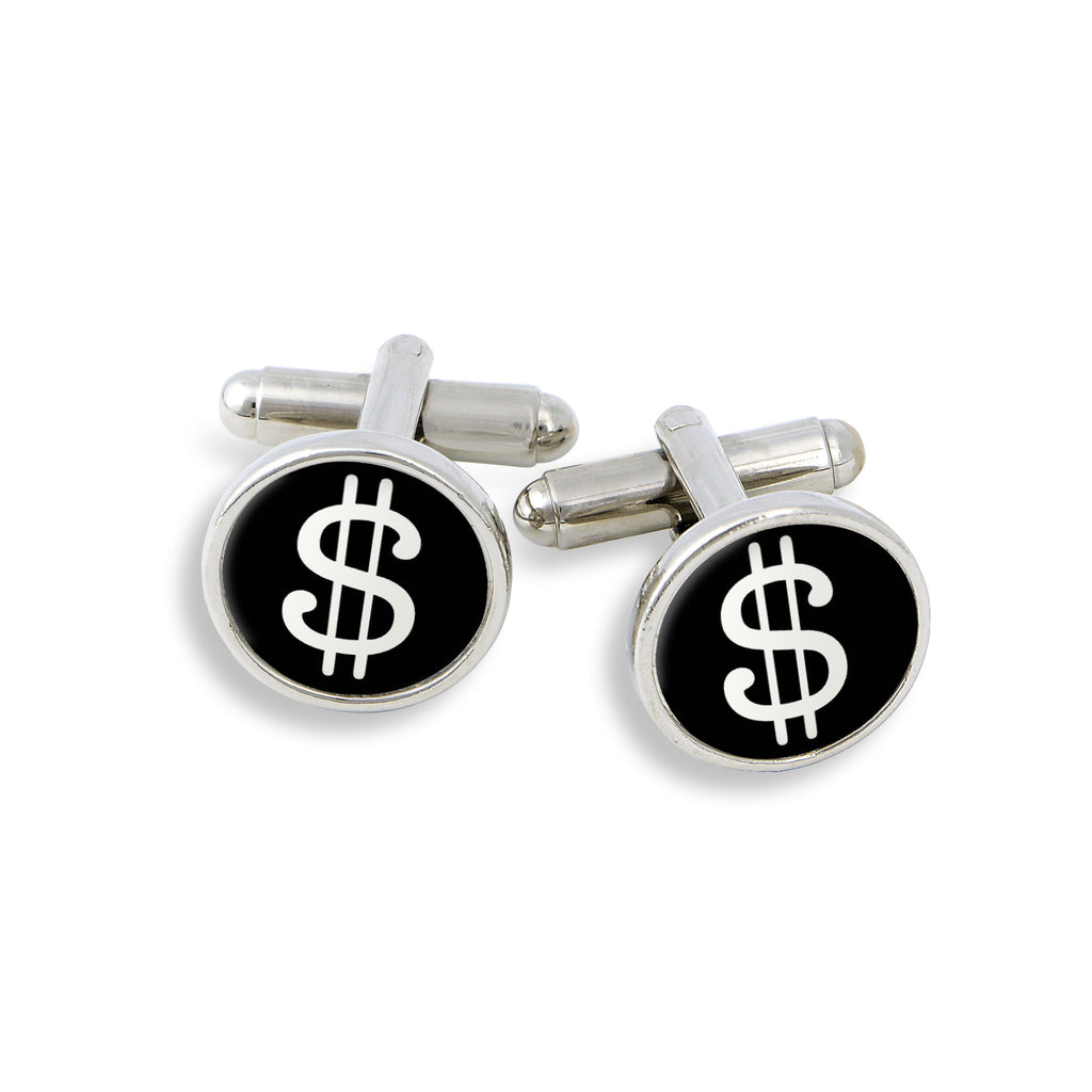 SilverTone Cufflink Set featuring the Pop Dollar Sign