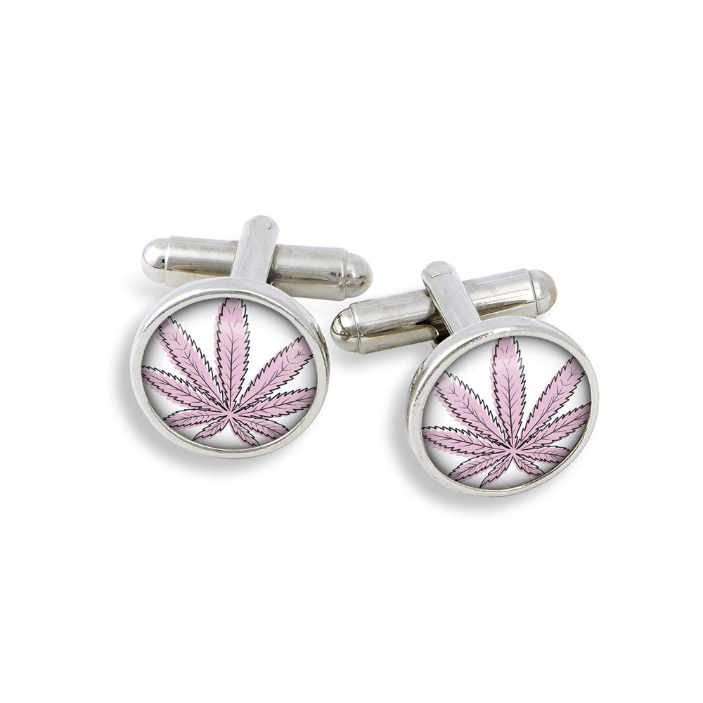 Silver-tone Cufflink Set Featuring The Cannabis Icon-O-Pop Line Illustrated Collection (Mellow Yellow)