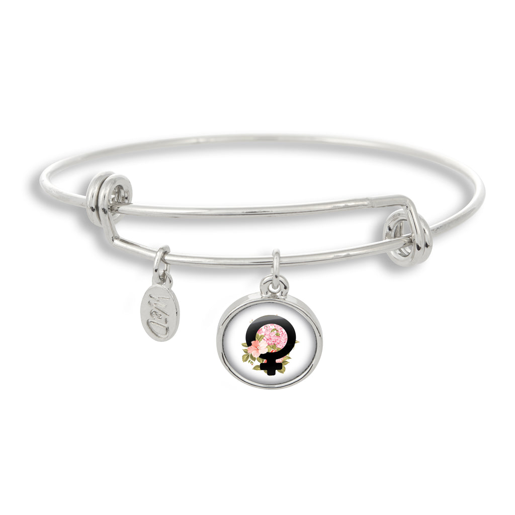 Female Empowerment Bangle Charm Bracelet | Handcrafted USA