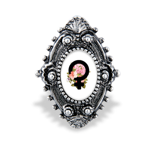 Beautiful Female Empowerment Filigree Ring Handcrafted USA