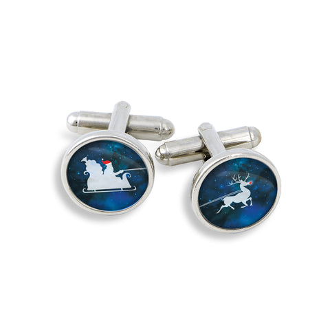 Santa and Rudolf Christmas Cufflinks | Handcrafted USA
