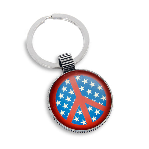 Keyring featuring Peace Sign Stars & Stripes