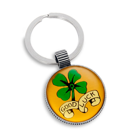 Keyring featuring the Good Luck Four-leaf Clover