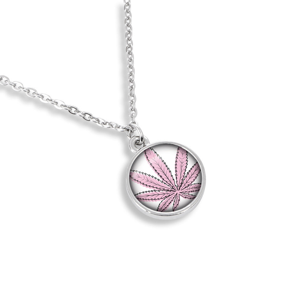 Cannabis Icon-O-Pop Collection 13mm Medallion Necklace (Line Illustrated Puff-Pass Pink)