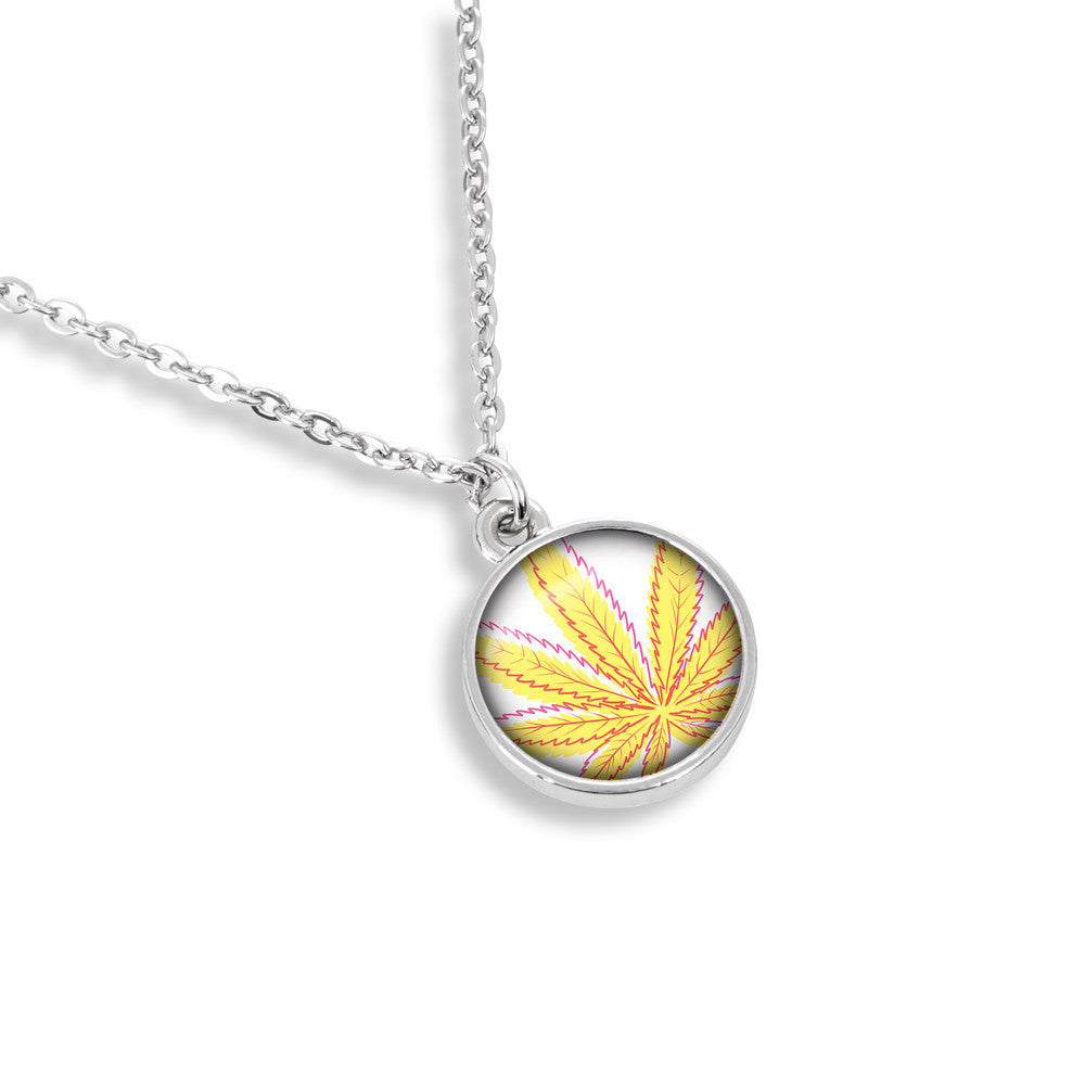 Cannabis Icon-O-Pop Collection 13mm Medallion Necklace (Line Illustrated Mellow Yellow)