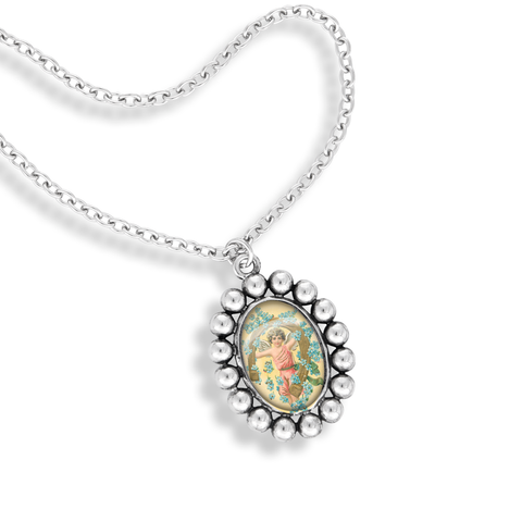 The Ball Frame Oval Pendant Necklace Featuring The Winky & Dutch Vintage Angels at Play