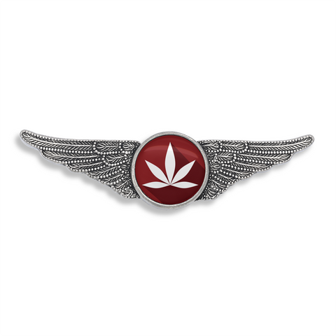 Cannabis Icon-O-Pop Collection Aviator Wing Pin (Marijuana Deep Red)
