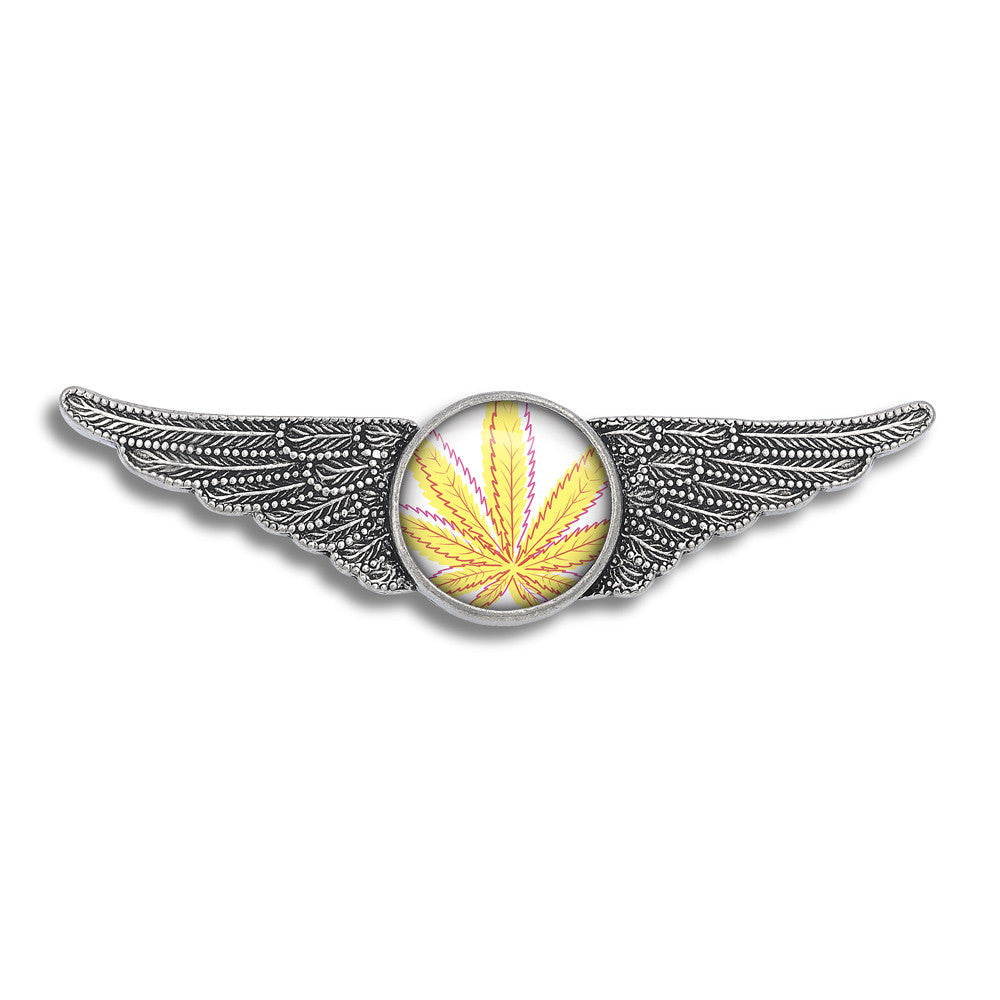 Cannabis Icon-O-Pop Collection Aviator Wing Pin (Line Illustrated Mellow Yellow)