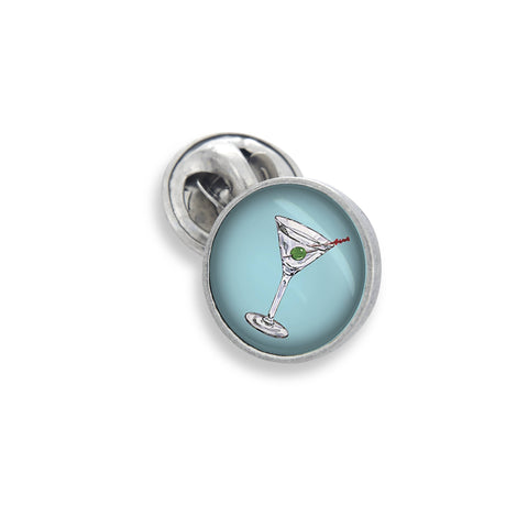 The Lapel Pin In 18mm Featuring the Winky&Dutch™ Classic Blue Martini with Olive
