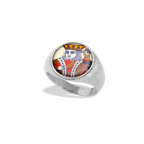 Signet Ring Featuring Jack, Queen, and King Face Card Illustrations by Winky&Dutch Vintage