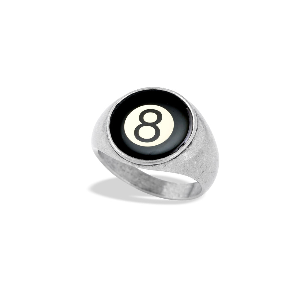 Signet Ring Featuring The Illustrated Magic 8 Ball from Winky&Dutch Artwork Collection