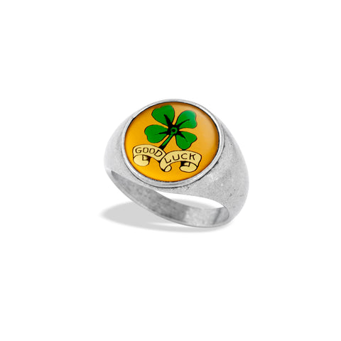 Signet Ring Featuring Iconic Illustrations of Luck & Good Fortune by Winky&Dutch Vintage