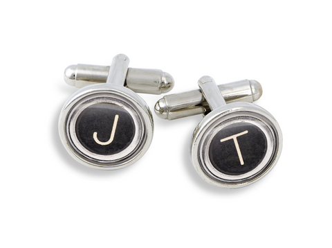 The 18mm Silver Cufflink Set from the Winky&Dutch Typewriter Key Collection