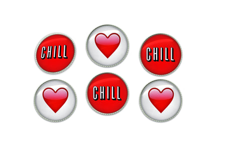 Chill and Red Emoji Heart Buttons | Handcrafted USA