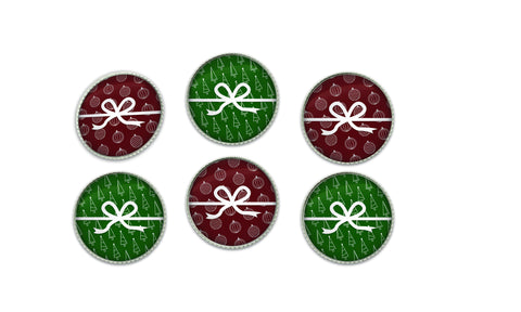 Red and Green Christmas Present Button Set | Handcrafted USA